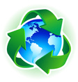 Recycle symbol with blue earth on white background vector