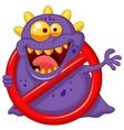 Cartoon stop virus - purple virus in red alert sig vector