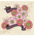 Hand drawn floral background with ribbons vector