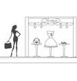 Fashion girl shopping doodle vector