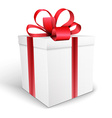 Gift box with bow isolated on white backgrou vector