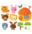 Cute animals collection vector