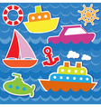 Marine transport stickers vector