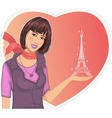 Lovely girl holds an eiffel tower in hand on a vector