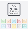 Apple and pear icon baked hot fruits symbol vector