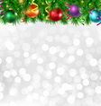 Xmas silver poster with xmas border vector