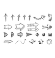 Hand drawn arrows icons set vector