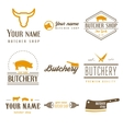 Set of labels templates and logo of butchery meat vector