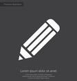 Pencil premium icon white on dark background vector
