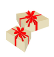 Two beautiful gift boxes with red ribbon vector