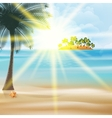 Seaside view poster with palm trees vector