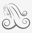 Outline girl curly hair cut out vector