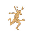 Half man half deer with tattoos running vector