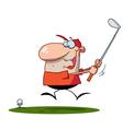 Happy man swings golf club vector