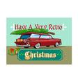 Retro christmas tree station wagon vector