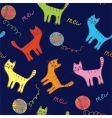 Cute cats and ball seamless vector