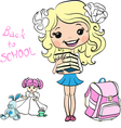 Cute baby school girl vector