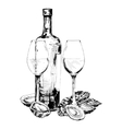 Bottle of wine oysters and two glasses vector