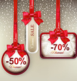 Sale labels with red gift bows vector