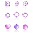 Pink and violet colors logos set vector