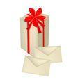 A tall gift box with red ribbon and cards vector