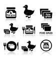 Foie gras duck or goose icons set vector