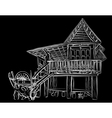 Wooden house sketch vector