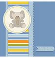 Baby boy announcement card with elephant vector