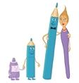 Family pencils brush tube of paint vector