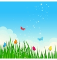 Beautiful summer meadow with colorful butterflies vector