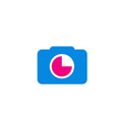 Photography logo concept in pink and blue vector