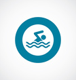 Swim icon bold blue circle border vector