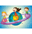 Kids on planet vector