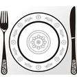 Menu plate fork knife vector