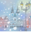 Winter christmas old town square in prague vector
