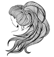 Long ponytail - line art vector