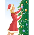 Santa girl decorates a christams tree with balls vector