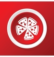 Pizza icon on red vector