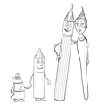 Family pencils brush tube of paint contours vector