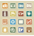 Camera and video sticker icons set vector