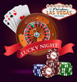 Casino roulette with red ribbon lucky night vector