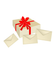 A gift box with red ribbon and three cards vector