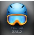Background of classic ski helmet and orange vector