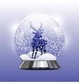 Snow globe with a christmas deer vector