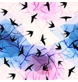 Swallows on geometrical background with branches vector