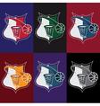 Set of vintage basketball crests vector