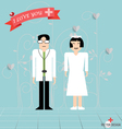 Doctor cartoon two doctors man and woman vector