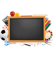 Black desk with school supplie vector