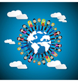 People - women holding hands around globe on blue vector