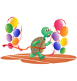 A turtle running with colorful balloons vector